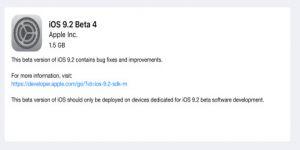 إصدار التحديث iOS 9.2 beta 4